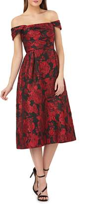 Carmen Marc Valvo Off the Shoulder Brocade Dress