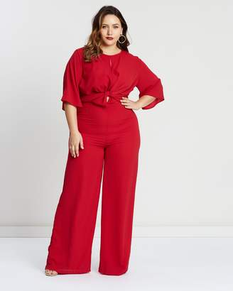 Tie Front Detail Wide-Leg Jumpsuit