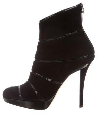 Christian Dior Suede Platform Ankle Boots