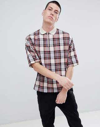 Asos Design DESIGN oversized woven check polo with zip neck