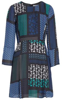 Derek Lam 10 Crosby Scarf Print Fit & Flare Dress