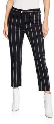 Derek Lam 10 Crosby Cropped Straight-Leg Striped Trousers