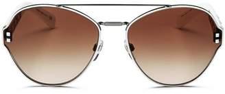 Valentino Women's Rockstud Brow Bar Round Sunglasses, 60mm