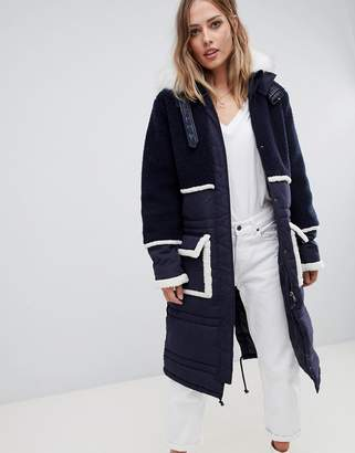 Urban Code Urbancode longline parka coat with contrast borg trim