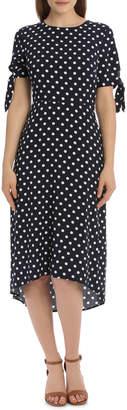 Dress Spot Midi with Tie Sleeve