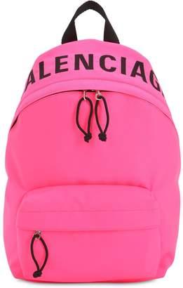 Balenciaga Wheel S Logo Print Nylon Backpack