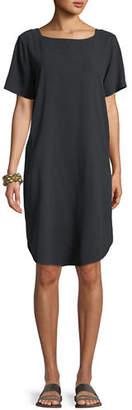 Eileen Fisher Fuji Silk Short-Sleeve Dress with Pockets