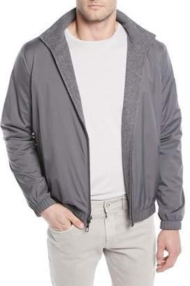 Loro Piana Men's Duo Cashmere Reversible Bomber Jacket, Gray