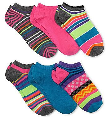 JCPenney No Show Stripe Socks - 6 Pair