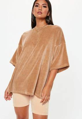 Missguided Camel Velour Drop Shoulder Oversized TShirt
