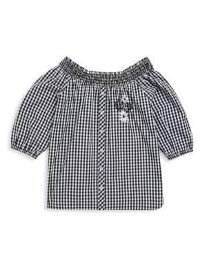 Design History Girl's Gingham Cotton Button-Up Top