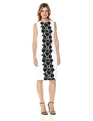 Calvin Klein Women's Sleeveless Sheath with lace Panel Dress