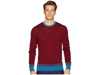 Etro Crew Neck Check Trim Sweater