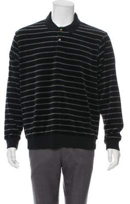 Supreme 2016 Striped Velour Long Sleeve Polo