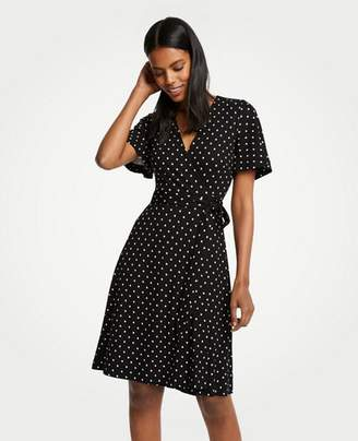 Ann Taylor Petite Polka Dot Flutter Sleeve Wrap Dress