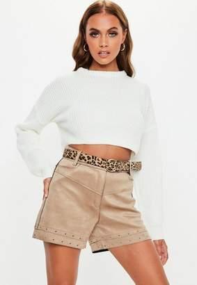 Missguided Beige Lazer Cut Faux Suede Shorts