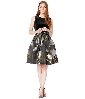 Tahari ASL Stretch Velvet Bodice with Printed Floral Jacquard Skirt