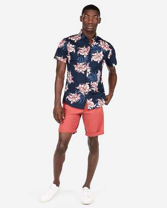 Express Floral Short Sleeve Button-Up Shirt