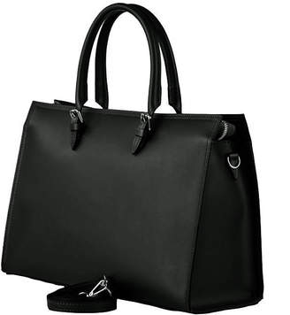 Brix And Bailey Convertible Black Leather Buckle Handle Tote