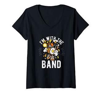 Womens I'm With Band Marching Band Training Camp Orange Yellow Gift V-Neck T-Shirt