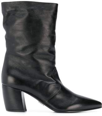 Prada relaxed curved heel boots