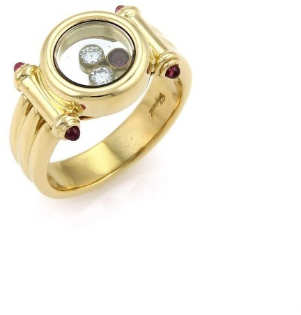 ChopardChopard Happy 18K Yellow Gold with 0.10ct Diamond and Ruby Ring Size 6