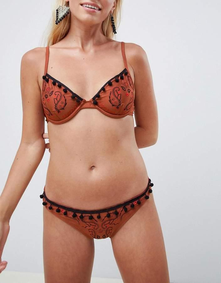 DESIGN Boho Paisley Embroidered Brazilian Bikini Bottom