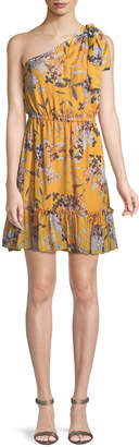 Shoshanna Carmela Floral Silk One-Shoulder Dress
