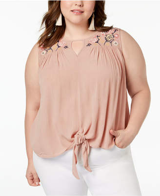 Planet Gold Trendy Plus Size Embroidered Top