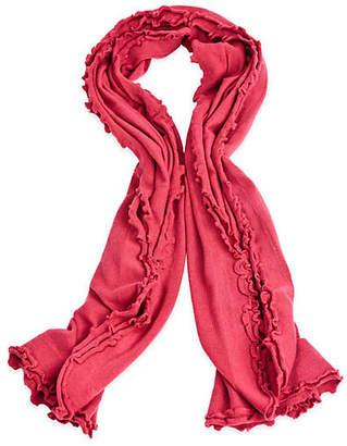 A & R Cashmere A&R Cashmere Lettuce Edged Cashmere-Blend Wrap - Red - a&R Cashmere