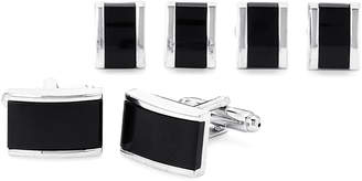 Ike Behar Silver-Tone & Black Enamel Rectangle Cufflink Set