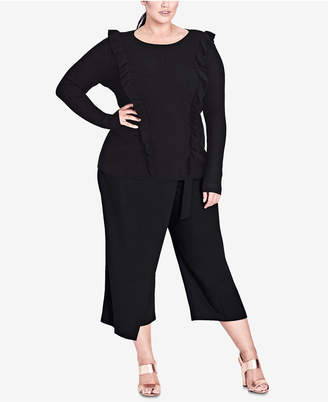 City Chic Trendy Plus Size Ruffled Sweater