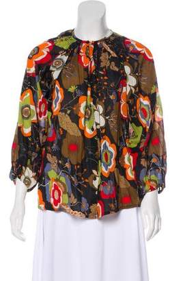 Tucker Floral Print Button-Up Top