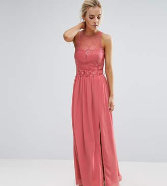 Little Mistress Petite Allover Lace Top Maxi Dress With Applique Belt Detail