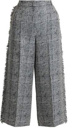 Erdem Beth checked frayed-edged cropped trousers