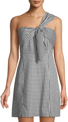 Sam Edelman One-Shoulder Gingham Mini Dress
