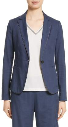 Fabiana Filippi Piped Linen & Cotton Blend Blazer