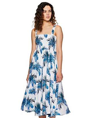 Serene Bohemian Women's Summer Printed Strap Dress with Smocking Detail (