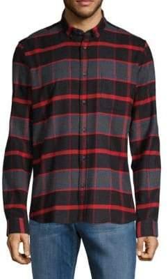 HUGO BOSS Plaid Straight-Fit Button-Down Shirt