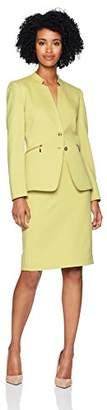 Tahari by Arthur S. Levine Women's One Button Peak Lapel Pinstriped LACE Trim Pant Suit