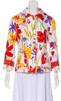 Dolce & Gabbana Floral Frayed Hem Jacket w/ Tags