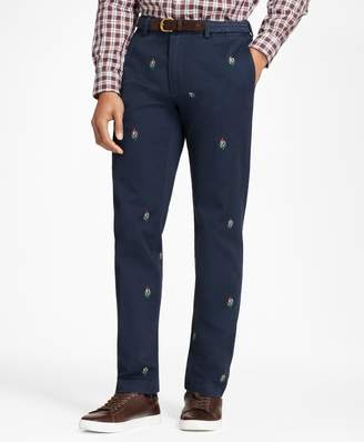 Brooks Brothers Mistletoe-Embroidered Cotton Twill Chinos