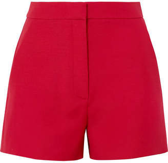 Valentino Wool And Silk-blend Crepe Shorts - Red