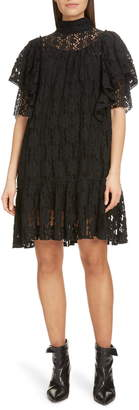 Etoile Isabel Marant Floral Lace Ruffle Shift Dress