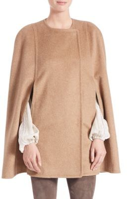 Elie Tahari Marta Textured Wool Blend Cape $568 thestylecure.com