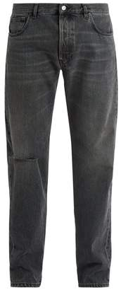 Balenciaga Archetypes Distressed Straight Leg Jeans - Mens - Grey