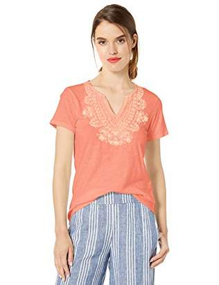 Lucky Brand Women's Embroidered V-Neck Short Sleeve TEE