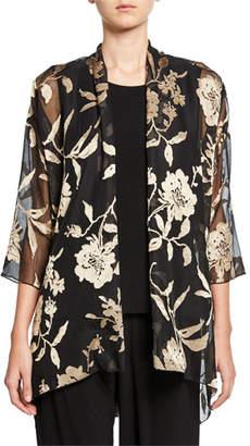 Caroline Rose Plus Size Sheer Floral Swing Jacket