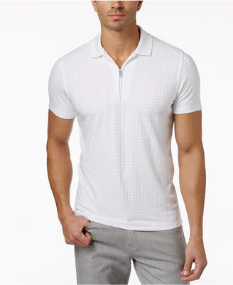Alfani Men's Textured Zipper Performance Polo, Only at Macy's $45 thestylecure.com