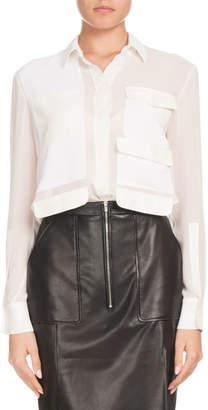 Altuzarra Button-Down Long-Sleeve Silk Georgette Shirt